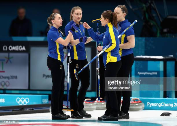 Sofia Mabergs Agnes Knochenhauer Sara McManus and Anna Hasselborg of Sweden celebrate during the Women's Gold Medal Game between Sweden and Korea on...
