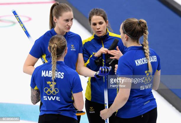 Sofia Mabergs Agnes Kochenhauer Sara McManus of Sweden and Anna Hasselborg of Sweden in conversation during the Women's Gold Medal Game between...
