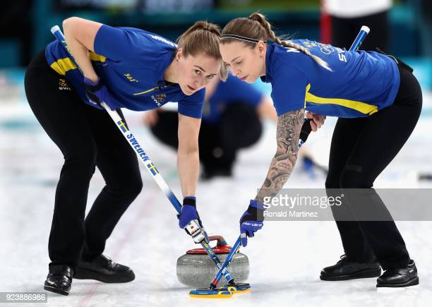 Sofia Mabergs of Sweden and Agnes Knochenhauer of Sweden in action during the Women's Gold Medal Game between Sweden and Korea on day sixteen of the...