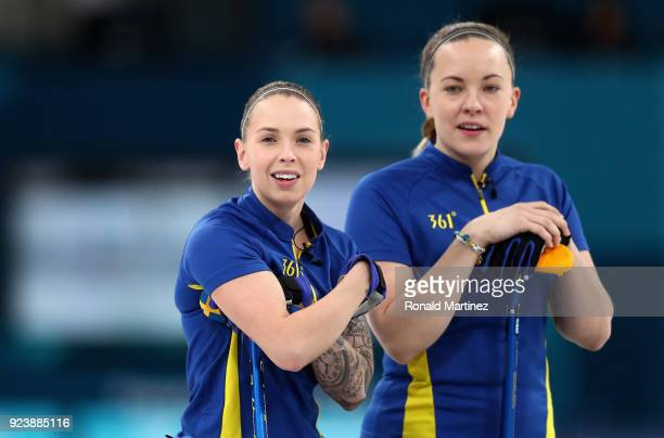 Sofia Mabergs of Sweden and Anna Hasselborg of Sweden look on during the Women's Gold Medal Game between Sweden and Korea on day sixteen of the...