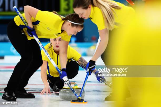 Sofia Mabergs of Sweden competes during the Women Curling round robin session 7 on day nine of the PyeongChang 2018 Winter Olympic Games at Gangneung...