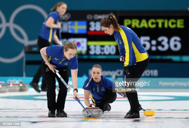 Sofia Mabergs of Sweden delivers a stone during practice prior to the Women's Gold Medal Game between Sweden and Korea on day sixteen of the...