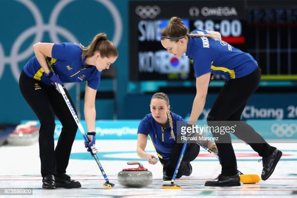 Sofia Mabergs of Sweden delivers a stone during the Women's Gold Medal Game between Sweden and Korea on day sixteen of the PyeongChang 2018 Winter...