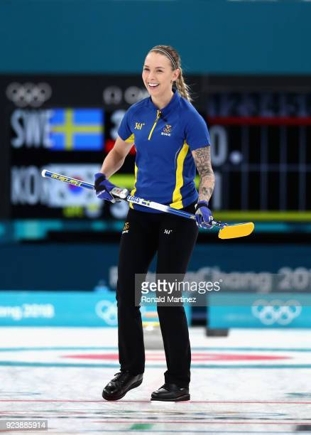 Sofia Mabergs of Sweden reacts during the Women's Gold Medal Game between Sweden and Korea on day sixteen of the PyeongChang 2018 Winter Olympic...
