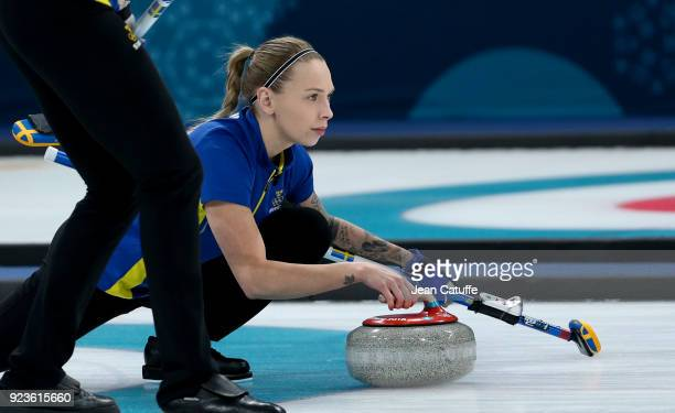 Sofia Mabergs of Sweden throws a stone during the women's curling semifinal game between Sweden and Great Britain on day fourteen of the 2018 Winter...