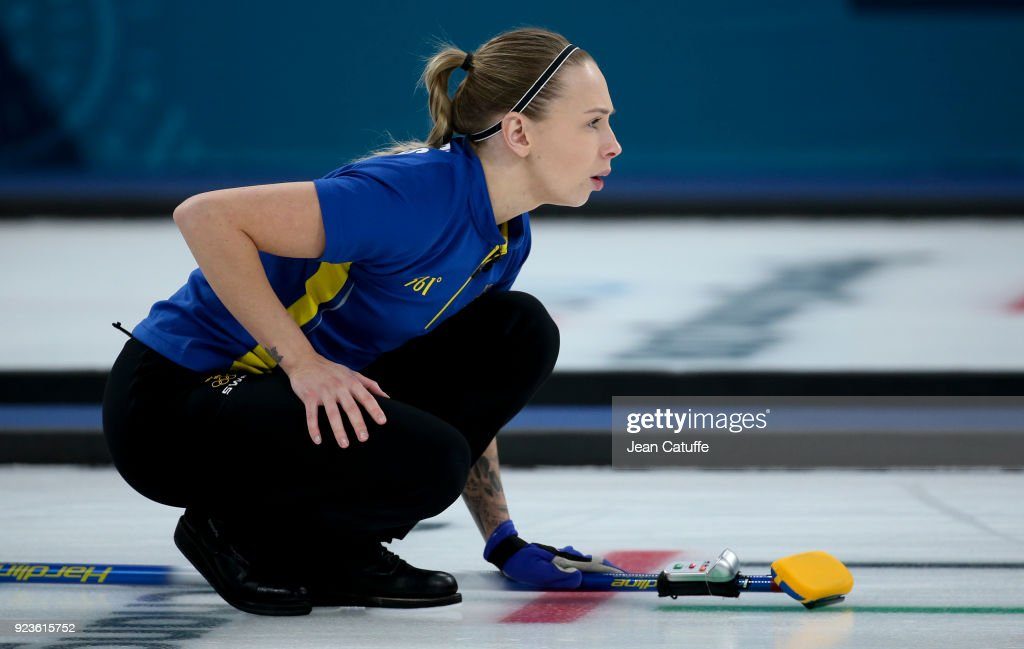 Sofia Mabergs of Sweden throws a stone during the women's curling semifinal game between Sweden and Great Britain on day fourteen of the 2018 Winter Olympic Games at Gangneung Curling Centre on February 23, 2018 in Gangneung, South Korea.