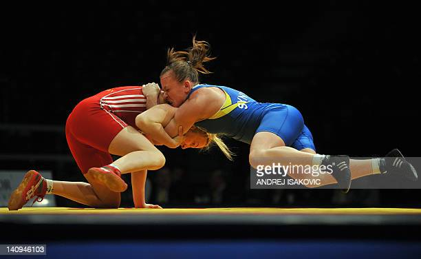 Sofia Magdalena Mattson from Sweden fights with Nataliya Synyshyn from Ukraine in the finals for the first place of the European Wrestling...