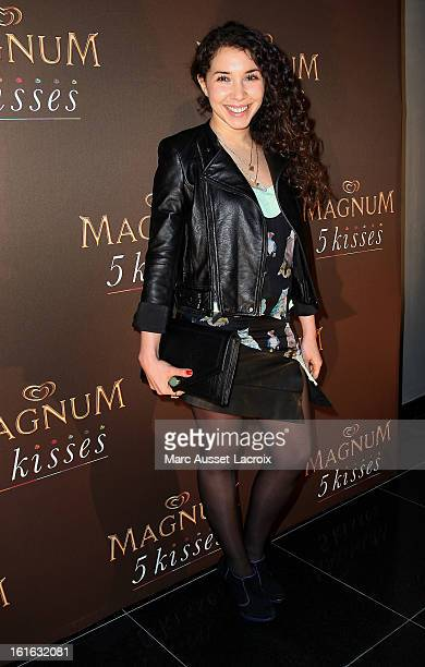 Sofia Manousha pose during the Magnum Ice Cream party for Valentine's Day at Pavillon Cambon on February 13 2013 in Paris France
