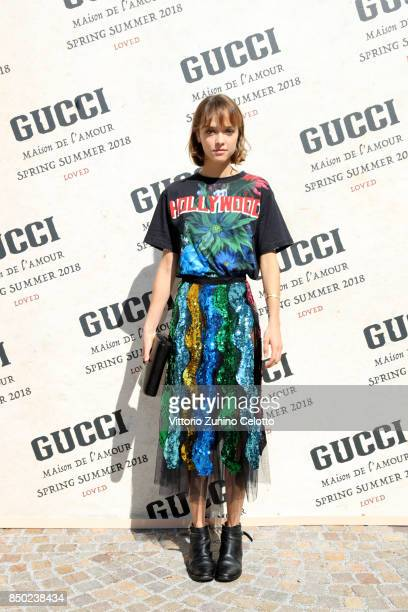 Sofia Mattioli arrives at the Gucci show during Milan Fashion Week Spring/Summer 2018 on September 20 2017 in Milan Italy
