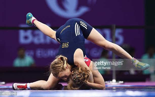 Sofia Mattsson of Sweden and Katarzyna Krawczyk of Poland compete in the Women's 55kg Freestyle Wrestling final during day three of the Baku 2015...