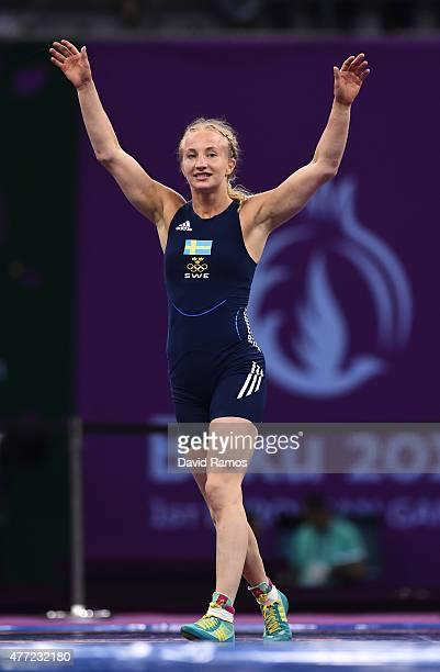 Sofia Mattsson of Sweden celebrates defeating Katarzyna Krawczyk of Poland in the Women's 55kg Freestyle Wrestling final during day three of the Baku...
