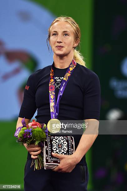 Sofia Mattsson of Sweden poses with her gold medal after defeating Katarzyna Krawczyk of Poland in the Women's 55kg Freestyle Wrestling final during...