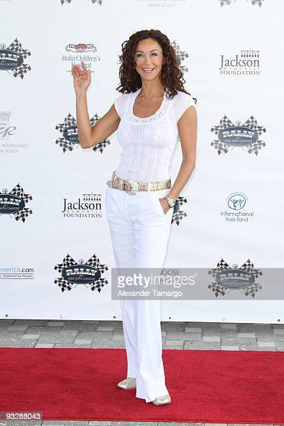 Sofia Milos arrives at the Rally for Kids Start Your Engines brunch at the Eden Roc Hotel on November 21 2009 in Miami Beach Florida