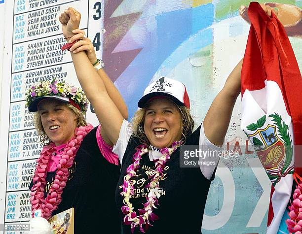 Sofia Mulanovich celebrates winning the maiden world championship title at the Roxy Pro Haleiwa in Haleiwa Hawaii