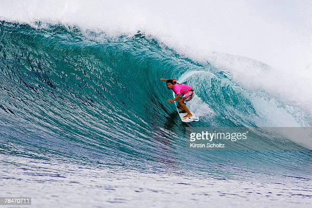 Sofia Mulanovich of Peru is defeated by Keala Kennelly of Hawaii preventing her from advancing out of Round 3 of the Billabong Girls Pro Maui...
