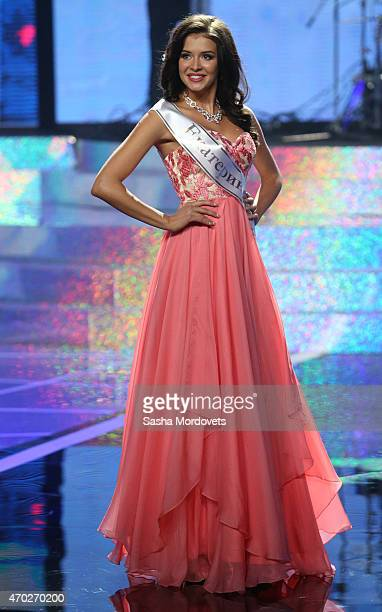 Sofia Nikitchuk of Yekaterinburg walks on stage during the Miss Russia 2015 contest final at Barvikha Luxury Village Concert Hall on April 18 2015 in...