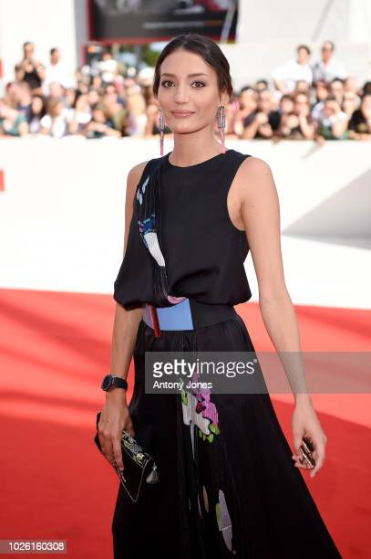 Sofia Odescalchi walks the red carpet ahead of the 'My Brilliant Friend ' screening during the 75th Venice Film Festival at Sala Grande on September...