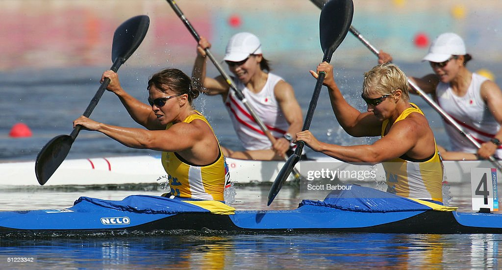 Sofia Paldanius and Anna Karlsson of Sweden compete during the women's K-2 class 500 metre semifinal on August 26, 2004 during the Athens 2004 Summer Olympic Games at the Schinias Olympic Rowing and Canoeing Centre in Athens, Greece.