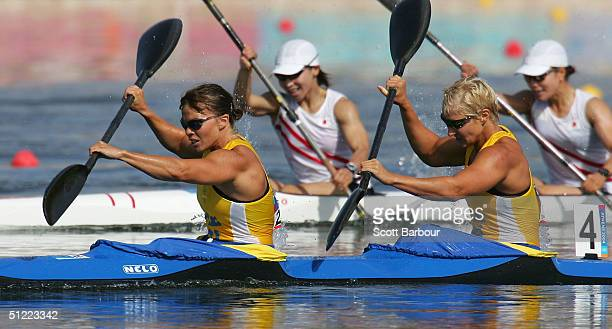 Sofia Paldanius and Anna Karlsson of Sweden compete during the women's K2 class 500 metre semifinal on August 26 2004 during the Athens 2004 Summer...