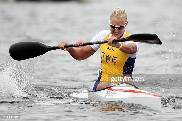Sofia Paldanius of Sweden competes in the Womens 500m K1 Class final during day three of the London Canoe Sprint International Invitational at Eton...