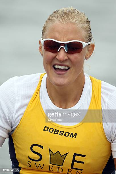 Sofia Paldanius of Sweden reacts after the Womens 500m K1 Class final during day three of the London Canoe Sprint International Invitational at Eton...