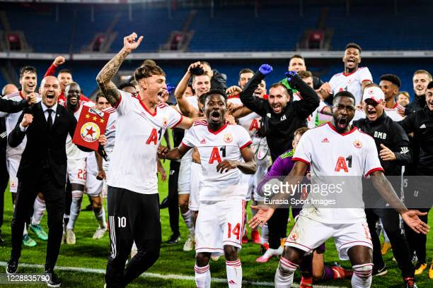 Sofia player celebrating after winning FC Basel during the UEFA Europa League play-off match between FC Basel and ZSKA Sofia at St. Jakob-Park on...