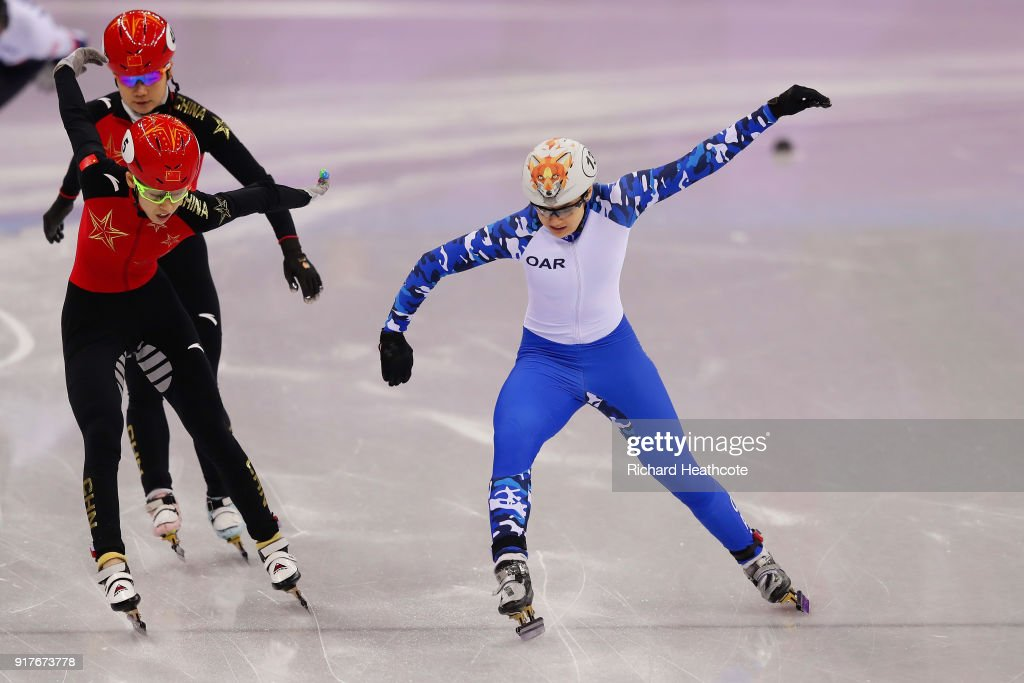 Sofia Prosvirnova of Olympic Athlete from Russia edges out Kexin Fan of China during the Ladies' 500m Short Track Speed Skating quarterfinal on day four of the PyeongChang 2018 Winter Olympic Games at Gangneung Ice Arena on February 13, 2018 in Gangneung, South Korea.