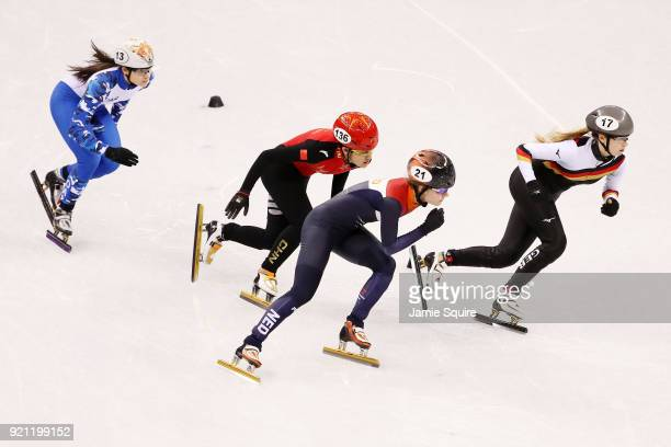 Sofia Prosvirnova of Olympic Athlete from Russia Jinyu Li of China Yara Van Kerkhof of the Netherlands and Anna Seidel of Germany compete during the...