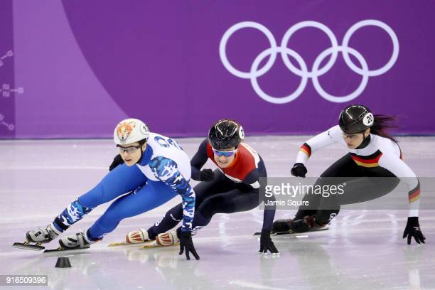 Sofia Prosvirnova of Olympic Athlete from Russia leads during the Ladies' 500m Short Track Speed Skating qualifying on day one of the PyeongChang...