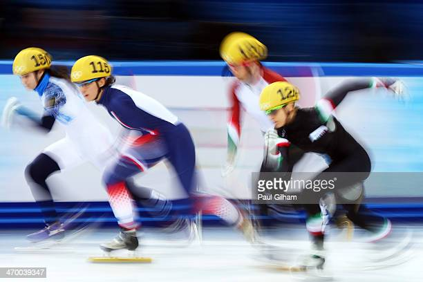 Sofia Prosvirnova of Russia Veronique Pierron of France Bernadett Heidum of Hungary and Arianna Fontana of Italy compete in the Short Track Ladies'...