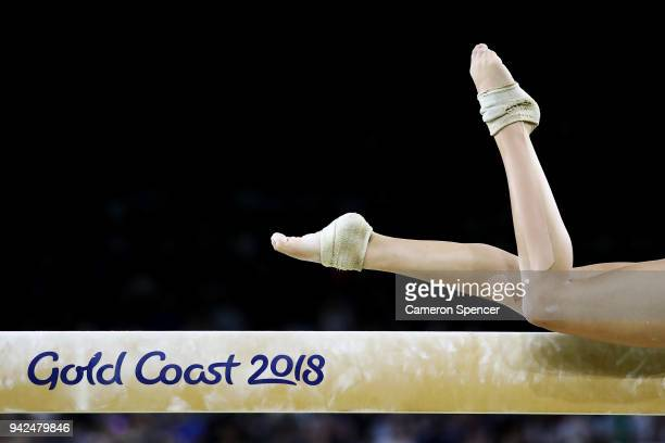 Sofia Ramzan of Scotland competes in the beam during the Gymnastics Artistic Women's Team Final and Individual Qualification on day two of the Gold...