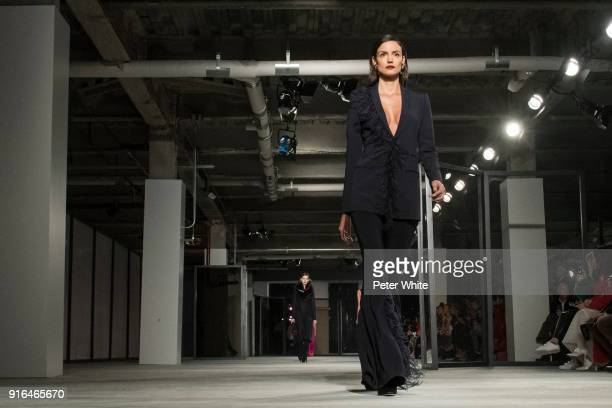 Sofia Resing walks the ruway for Cushnie Et Ochs Fashion Show during New York Fashion Week at Pier 17 on February 9 2018 in New York City