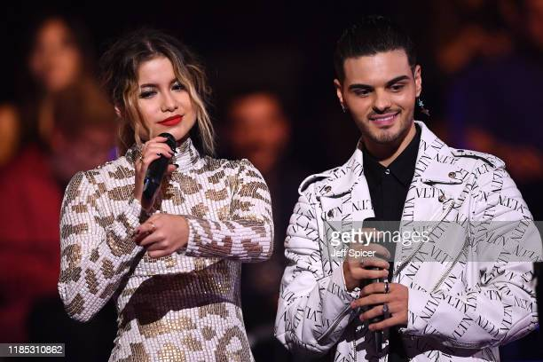 Sofia Reyes and Abraham Mateo on stage during the MTV EMAs 2019 at FIBES Conference and Exhibition Centre on November 03, 2019 in Seville, Spain.