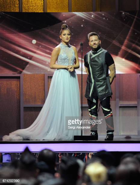Sofia Reyes and Noel Schajris onstage at the Billboard Latin Music Awards at Watsco Center on April 27 2017 in Coral Gables Florida