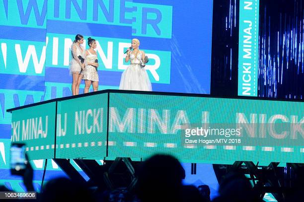 Sofia Reyes Anitta and Nicki Minaj on stage during the MTV EMAs 2018 at the Bilbao Exhibition Centre on November 04 2018 in Bilbao Spain