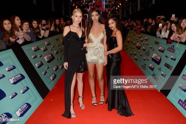 Sofia Reyes Cindy Kimberly and Nisrine Sbia attends the MTV EMAs 2017 held at The SSE Arena Wembley on November 12 2017 in London England