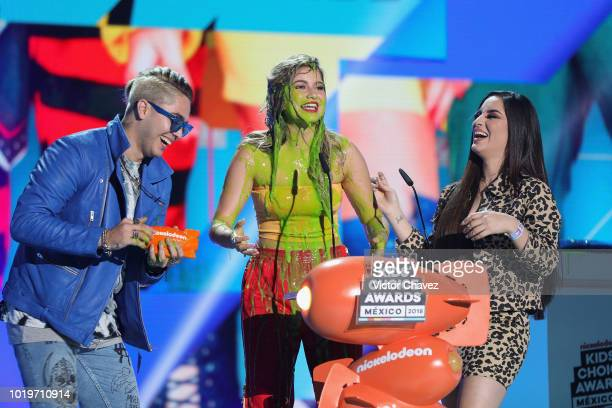 Sofia Reyes get slimed on stage during the Nickelodeon Kids' Choice Awards Mexico 2018 at Auditorio Nacional on August 19 2018 in Mexico City Mexico
