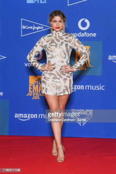 Sofia Reyes in the winner room during the MTV EMAs 2019 at FIBES Conference and Exhibition Centre on November 03, 2019 in Seville, Spain.