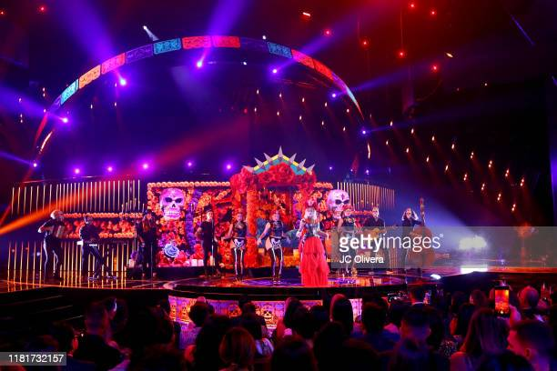 Sofia Reyes performs onstage during the 2019 Latin American Music Awards at Dolby Theatre on October 17 2019 in Hollywood California