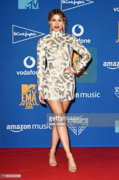 Sofia Reyes poses in the winners room during the MTV EMAs 2019 at FIBES Conference and Exhibition Centre on November 03 2019 in Seville Spain