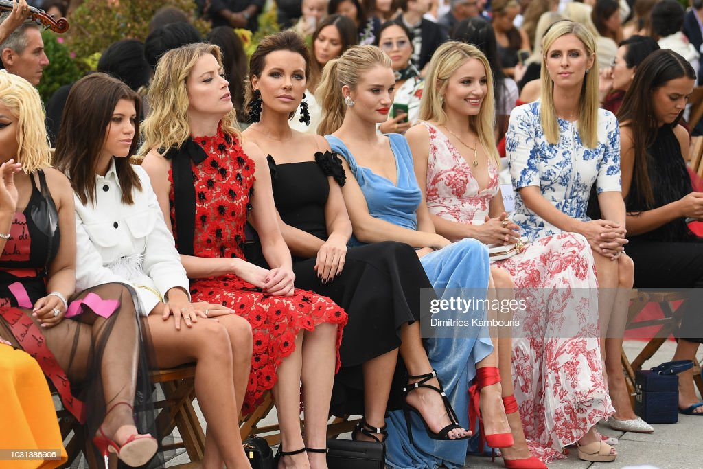Sofia Richie, Amber Heard, Kate Beckinsale, Rosie Huntington-Whiteley, Dianna Agron and Nicky Hilton Rothschild attend the Oscar De La Renta front Row during New York Fashion Week: The Shows at Spring Studios Terrace on September 11, 2018 in New York City.