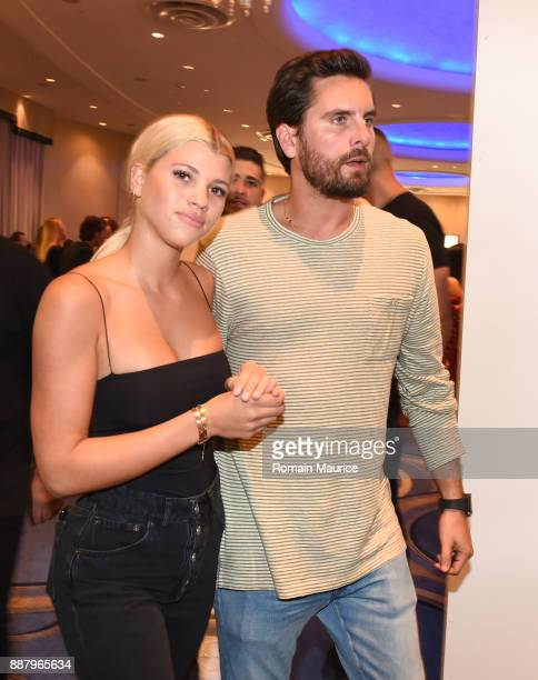 Sofia Richie and Scott Disick attend Haute Living's VIP PopUp opening of Alec Monopoly from Art Life and David Yarrow from Maddox Gallery at Fleur De...