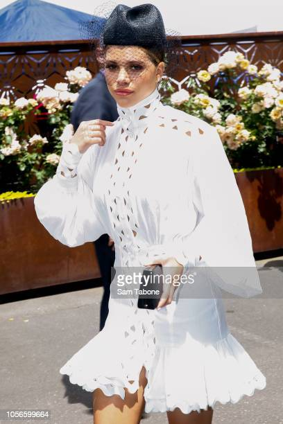 Sofia Richie arrives at the Ultra Marquee on Derby Day at Flemington Racecourse on November 3 2018 in Melbourne Australia