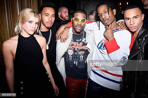Sofia Richie Lewis Hamilton ASAP Ferg ASAP Rocky and Olivier Rousteing attend the Balmain aftershow party as part of Paris Fashion week at El Pompon...
