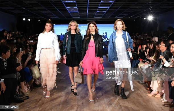 Sofia Richie Lottie Moss Kenya KinskiJones and Sarah Snyder attend the Samantha Thavasa Millennial Stars Fashion Event on April 27 2017 in Tokyo Japan