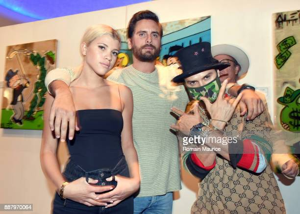 Sofia Richie Scott Disick and Alec Monopoly attend Haute Living's VIP PopUp opening of Alec Monopoly from Art Life and David Yarrow from Maddox...