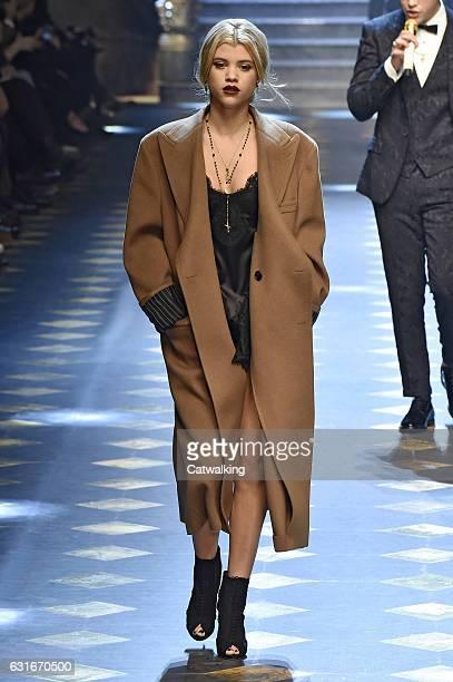 Sofia Richie walks the runway at the Dolce Gabbana Autumn Winter 2017 fashion show during Milan Menswear Fashion Week on January 14 2017 in Milan...