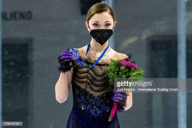 Sofia Samodelkina of Russia pose with the silver medal during medal ceremony after the ISU Junior Grand Prix of Figure Skating at Tivoli Hall on...