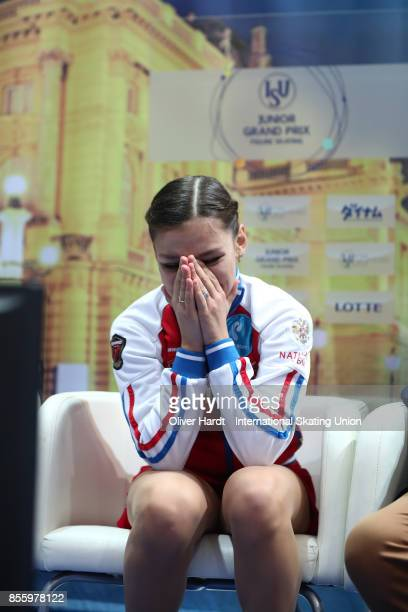 Sofia Samodurova of Russia look on at the kiss and cry in the Junior Ladies Free Skating Program during day four of the ISU Junior Grand Prix of...