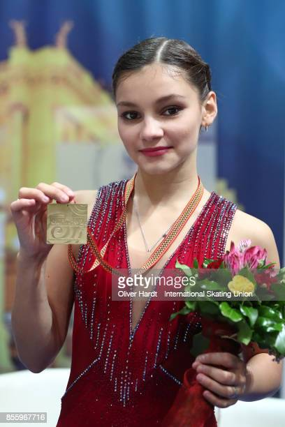 Sofia Samodurova of Russia poses with her gold medal after the Junior Ladies Free Skating Program during day four of the ISU Junior Grand Prix of...